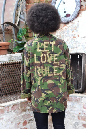 Let Love Rule Bird + Wolf Green Camo Jacket Customised Army Camouflage