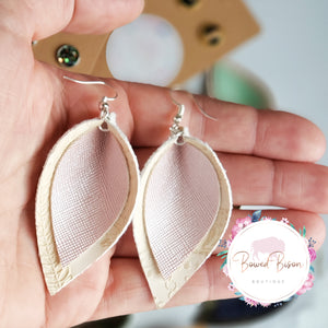 Cream Embossed Faux Leather and Pink Shiny- Always a Princess
