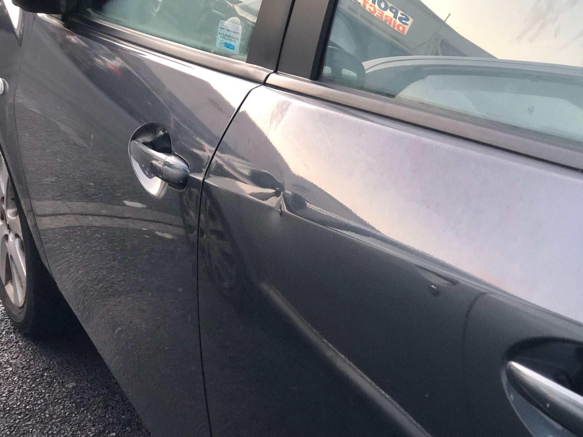 Dent in side of car