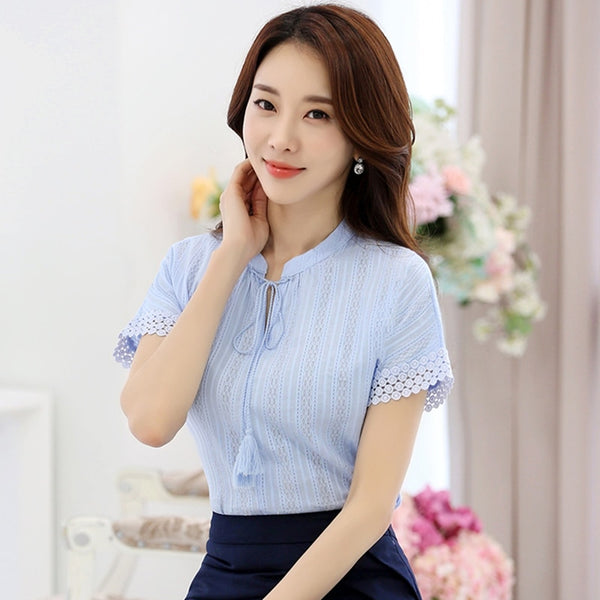 100% Cotton Shirt Short Sleeve 2019 Summer Women Blouses Tops Solid Casual Clothes Lace