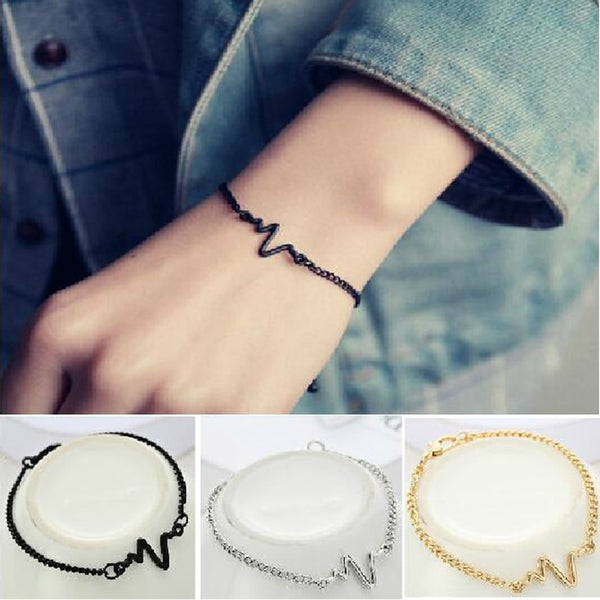 Arrivals Korean Simple Waves ECG Heart Rate Lightning Bracelets For Women & Men