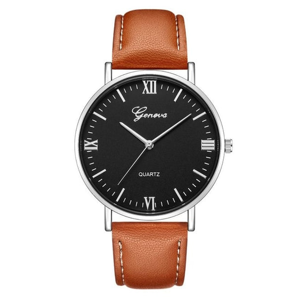 Fashion Large Dial Military Quartz Men Watch Leather Sport Watches Classic Clock