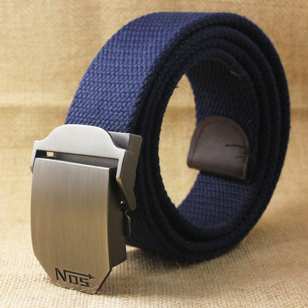 Top quality 4 mm thick 3.8 cm wide casual canvas belt Outdoor Alloy Automatic buckle men Belt