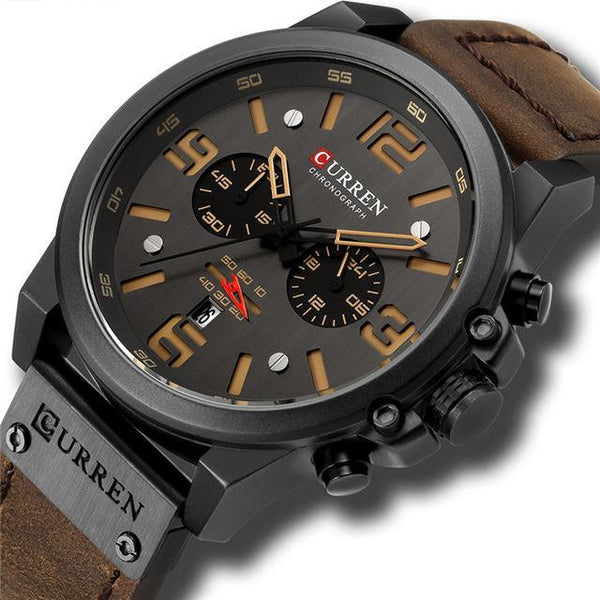 Mens Watches Top Luxury Brand Waterproof Sport Wrist Watch Chronograph Quartz Military Genuine Leather