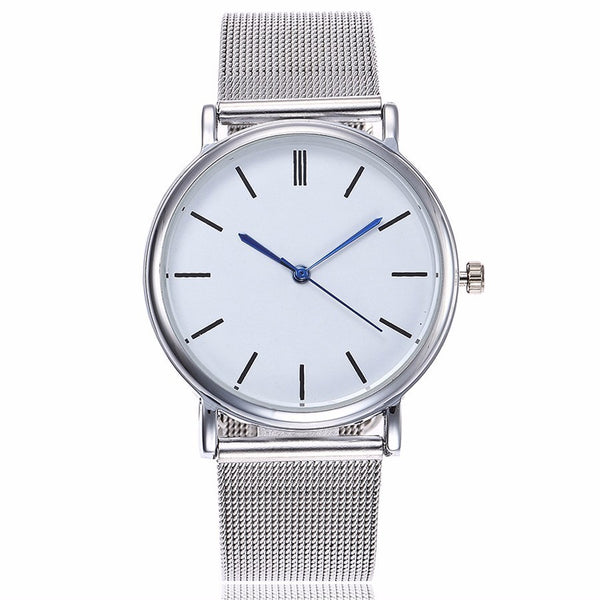 Fashion Silver Mesh Quartz Watch Women Metal Stainless Steel Dress Watches