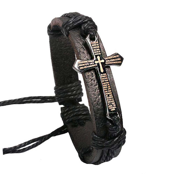 Handmade Wrap Charm Cross Braid Genuine Leather Bracelet For Women & Man