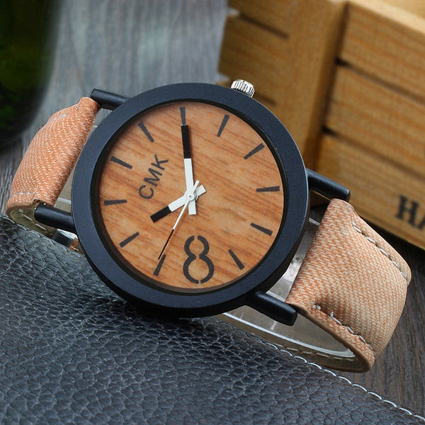 Fashion Luxury Imitation Wood Grain Watch Men Women Simple Casual Leather Clocks Mens Watches