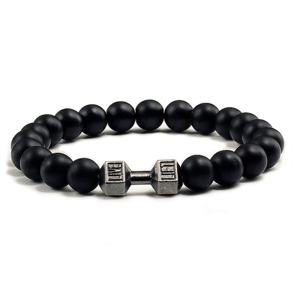 Volcanic Lava Stone Dumbbell Black matte Bracelet For Women And Men