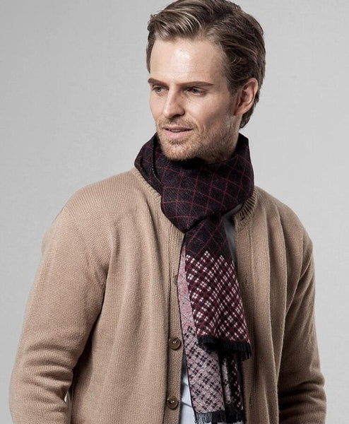Men's Plaid Cashmere Scarf Men Scarves