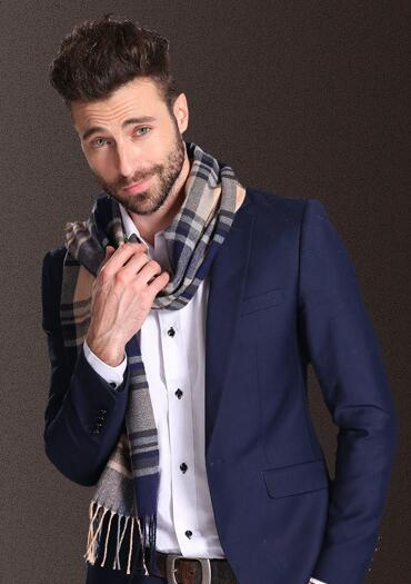Fashion Shawl Scarves Men Winter Warm Tartan Scarf Business Sjaal Plaid Cotton Wraps Bufanda Foulard