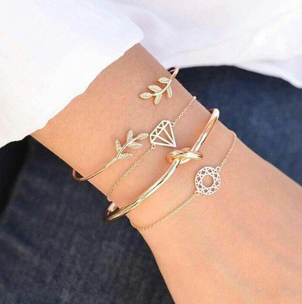 4pcs/Set Leaf Knot Hand Cuff Link Chain Charm Bracelet Bangle for Women - kartbliss