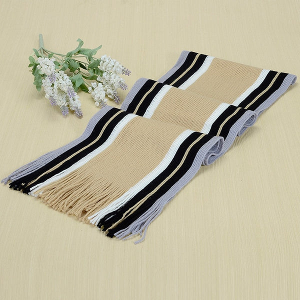 men striped cotton scarf female & male brand shawl wrap knit cashmere bufandas Striped scarf with tassels