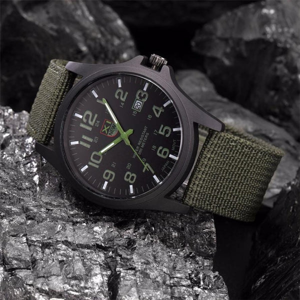 Hot Sell Outdoor Mens Date Stainless Steel Military Sports Analog Quartz Army Wrist Watch