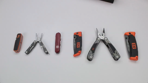 Here's the Bear Grylls Pocket Tool compared... from left to right to the Bear Grylls Compact Multi Tool, the Swiss Army Tinker Tool, the Bear Grylls Scout knife, Ultimate Multi Tool and Folding Sheath Knife