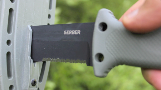 The LMF II has a V-Type Knife Sharpener Integrated into its Sheath