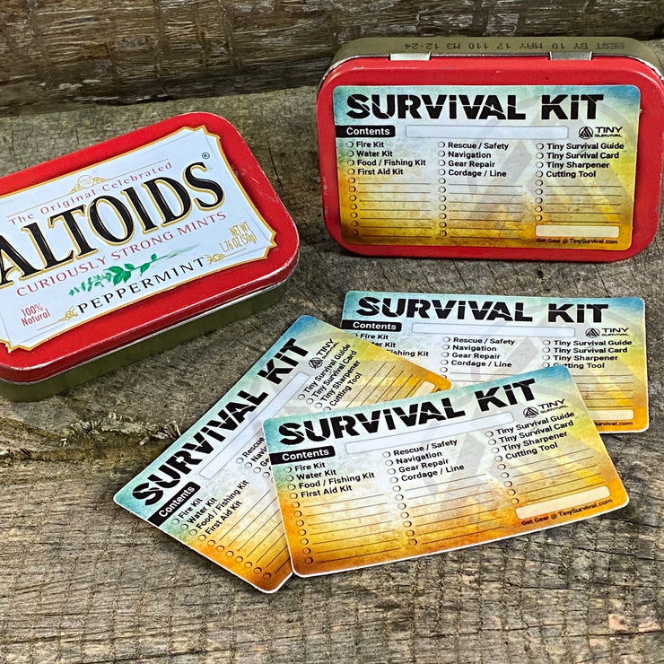 DIY - Altoids® Tin - Tiny Survival Kit Checklist Stickers - 3 Pack