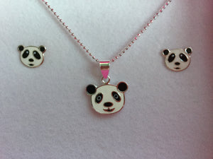 Panda necklace and earrings set