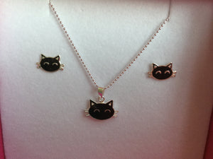 Pussy-cat necklace and earrings set