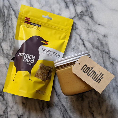 NotMilk Upcycled Almond Butter + Hungry Bird Seed Crisps
