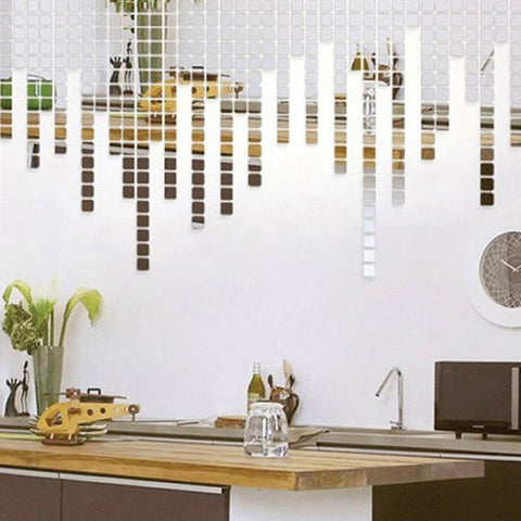 Mirrored Mosaic Wall Adhesives - 100 Pieces