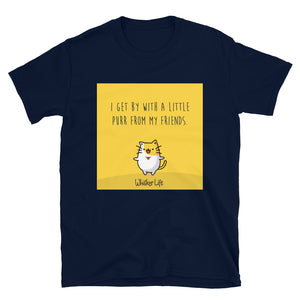 I Get By With A Little Purr From My Friends - Block Style Short-Sleeve Mens T-Shirt