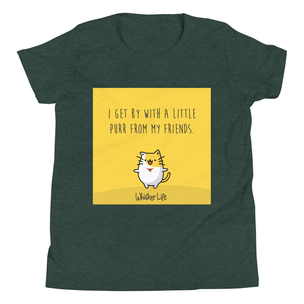 I Get By With A Little Purr From My Friends - Block Style Youth Short Sleeve T-Shirt