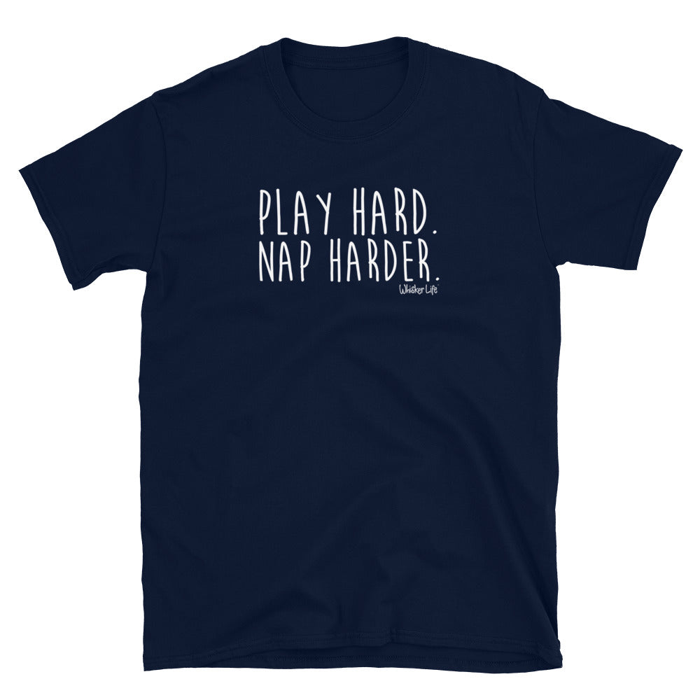 Play Hard. Nap Harder. - Short-Sleeve Womens T-Shirt