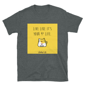 Live Like It's Your 9th Life - Block Style Short-Sleeve Mens T-Shirt