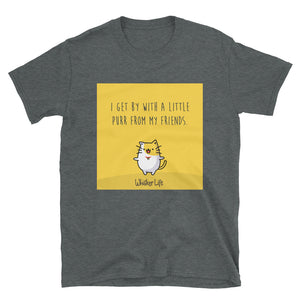 I Get By With A Little Purr From My Friends - Block Style - Short-Sleeve Ladies T-Shirt