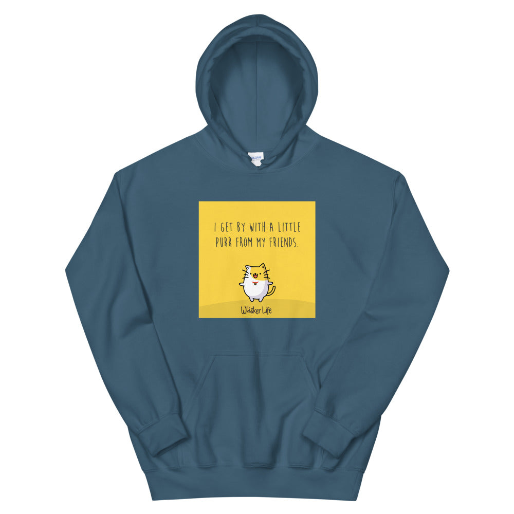 I Get By With A Little Purr From My Friends - Block Style Unisex Hoodie