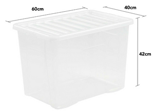Crystal U/Bed box and lid Clear 80L