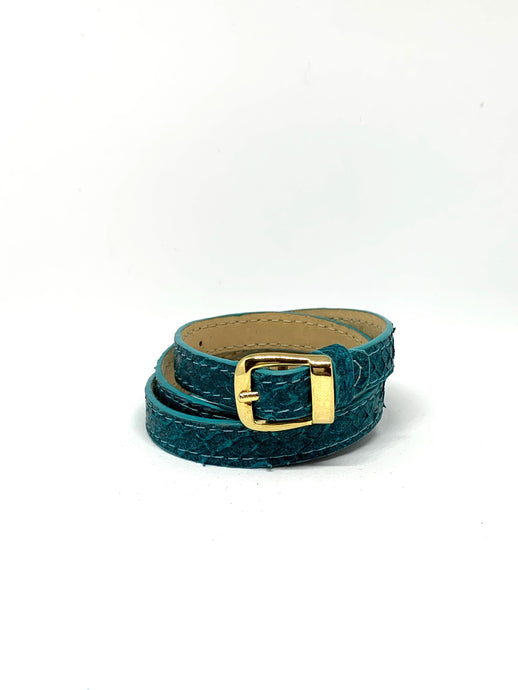 Angie Wrap Around Bracelet in Deep Cyan