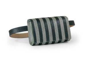 Penelope Belt Bag in Black & Moss Stripes