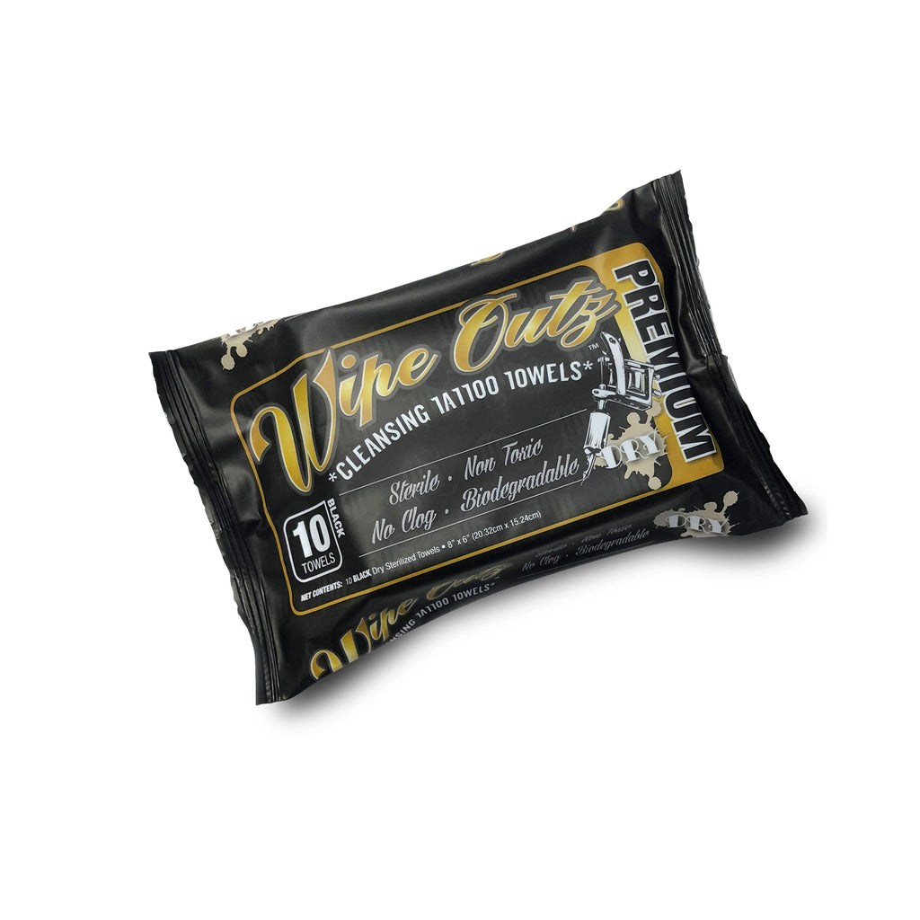 Wipe Outz™ - 1 Pack Black - Sterilized Tattoo Towels - 10 Count Pack