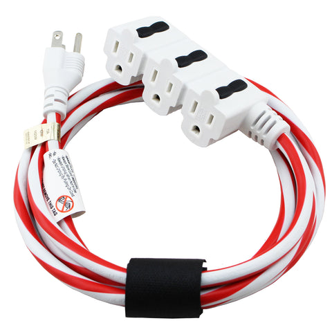 15 ft. Indoor Holiday Extension Cord - Red and White Ultra Bright