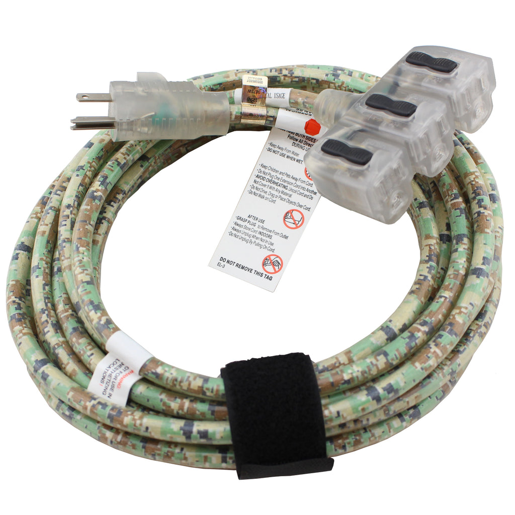 25 ft. Outdoor Extension Cord - Camouflage Triple Tap