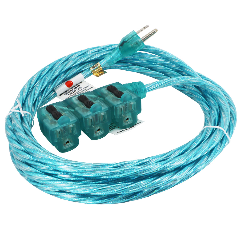 15 ft. Indoor Extension Cord - Sparkle Blue Designer Series