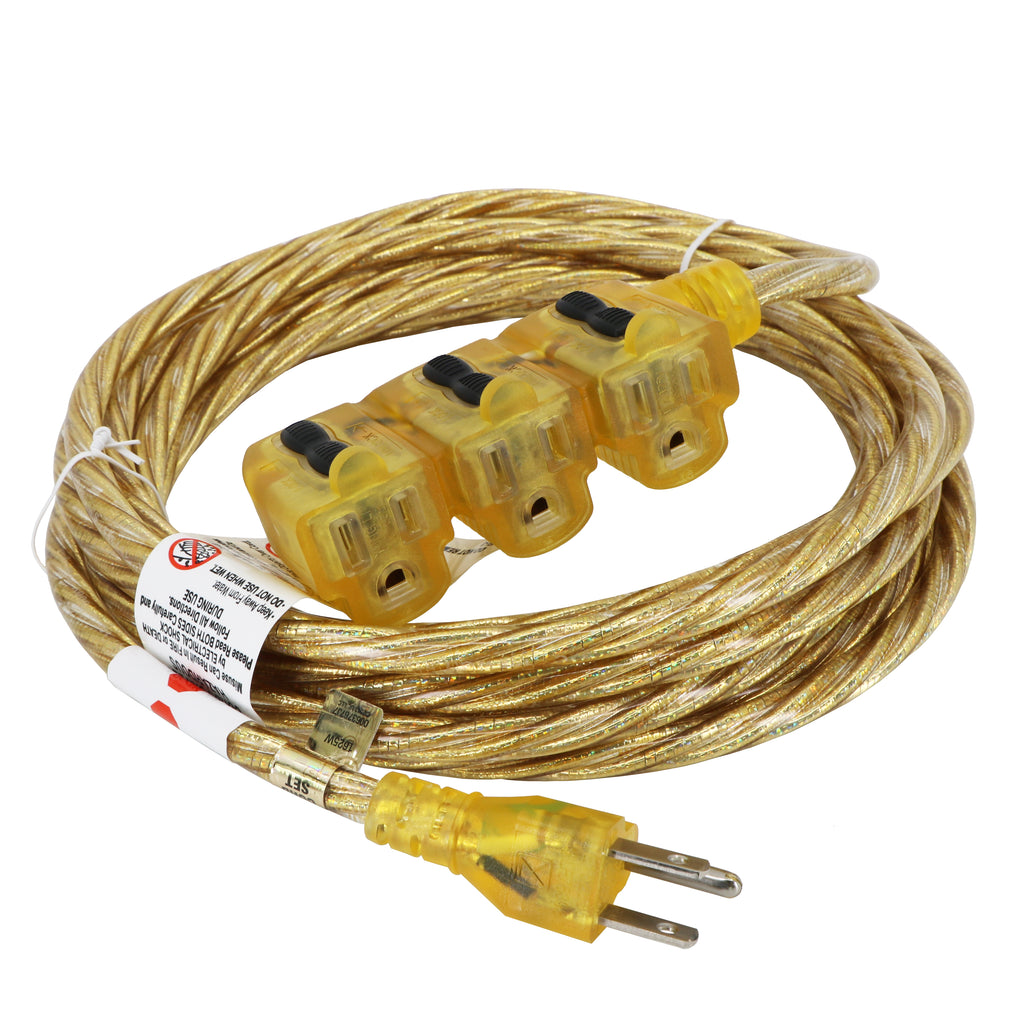 15 ft. Indoor Extension Cord - Sparkle Gold Designer Series