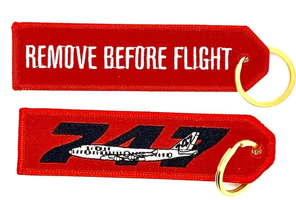 REMOVE BEFORE FLIGHT BOEING 747 Keyring