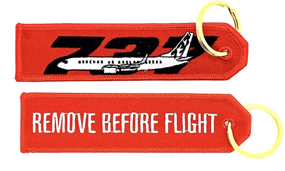 REMOVE BEFORE FLIGHT BOEING 737 Keyring