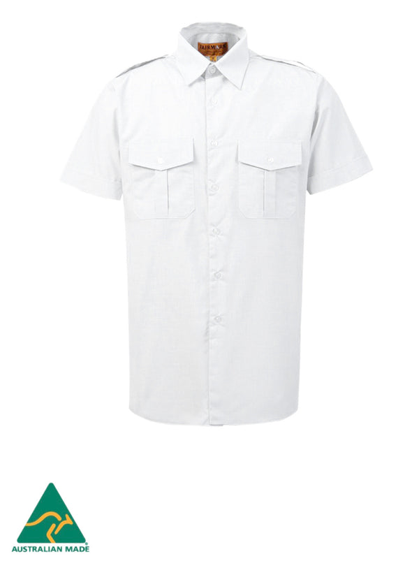 Fairmark Unisex Short Sleeve White Pilot Shirt