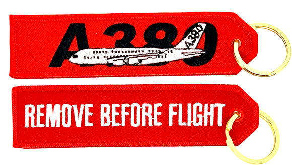 REMOVE BEFORE FLIGHT AIRBUS A380 Keyring
