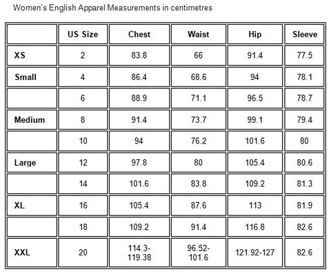 Ariat Women's English Apparel Measurements in centimetres