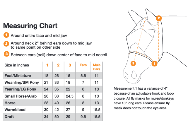 Cashel Fly Mask Sizing Chart