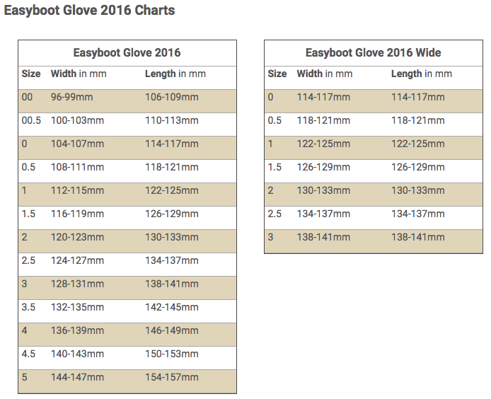 Easyboot Glove 2016 Size Chart