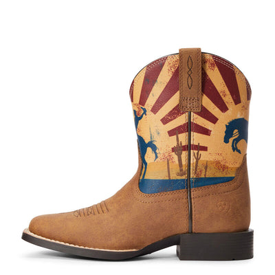 Ariat Youth DINERO Cowboy Boots - Tan Sunset Scene