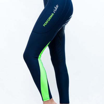 Performa Ride COLOUR BLOCK Riding Tights - INK / LIME