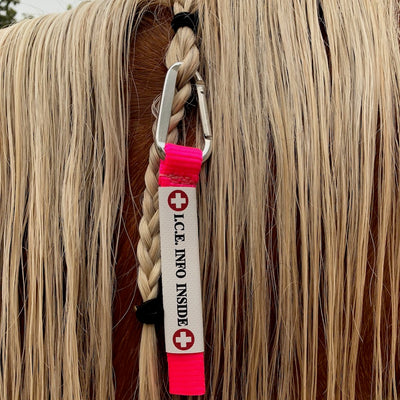 I.C.E. UltraLite - Equine ID Tag with Carabiner Clip - Hot PINK