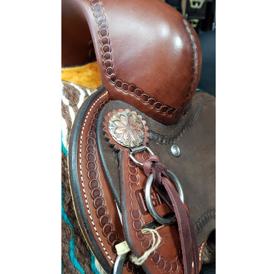 Cashel Trail Saddle With Horn - Rough Out, Std Gullet, Turned Fenders, Custom Conchos