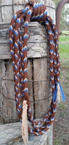 Mecate Rein 12 Strand, 22FT, with Core - Chocolate, Beige & Blue